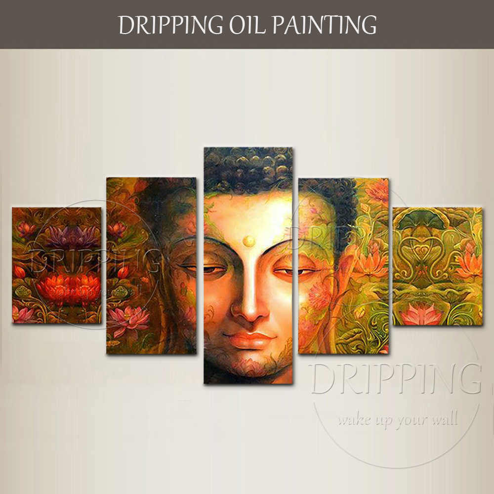 Beautiful Modern Wall Art Hand-painted High Quality Buddha Head and Lotus Oil Painting on Canvas 5 Pieces Buddha Oil Painting