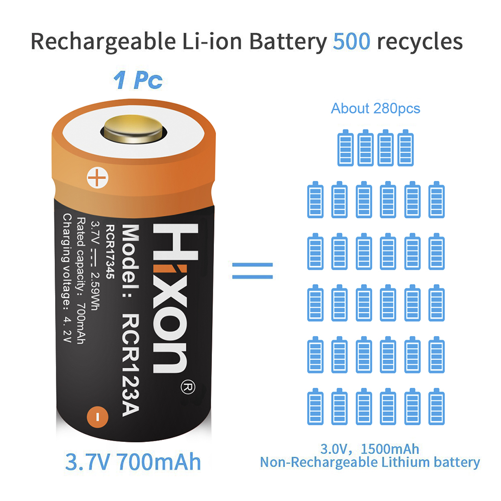100pcs UL Certified 700mAh 3.7V RCR123A CR123A rechargeable batteries for Netgear Arlo HD Cameras and Reolink-in Replacement Batteries from Consumer Electronics    3