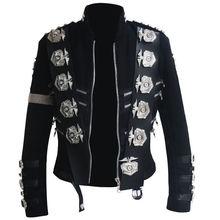 Классический MJ Майкл Джексон BAD черный классический пиджак с серебряными значки с орлом Панк Металлический модный значок шерстяная одежда шоу подарок