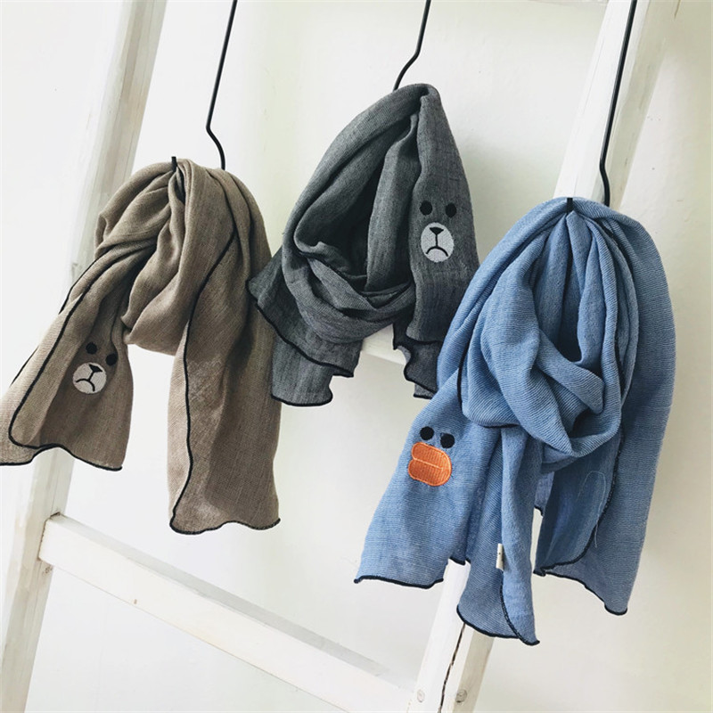 Korea Handmade Cotton Linen Cartoon Embroidery Kids Children Girl   Scarf     Wrap   Shawl Fall Winter Apparel Accessories-OZKSF011C5