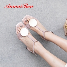 ANMAIRON 2019 women new arrival high heel sandals Genuine Leather Basic Wedding Buckle Strap solid shoes size 34-42 LY2285
