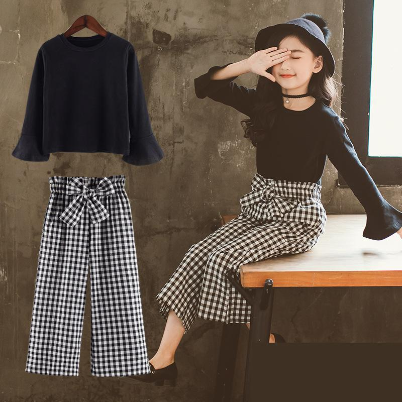 2018 Girls Clothing Sets Autumn Children Kids T-shirt + Plaid Pants Teenage Toddler Girls Clothes Sets Ensemble Fille 10 12 Year 2018 teenage girls clothing sets summer casual children clothing kids clothes toddler girls suits t shirts tops plaid skirts