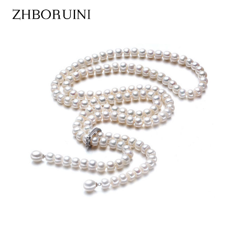 ZHBORUINI Fashion Long Pearl Necklace Natural Freshwater Pearl 925 Sterling Silver Jewelry For Women Statement Necklace Gift