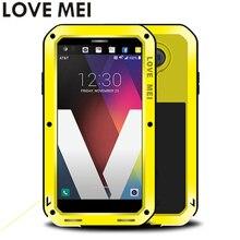 Para LG Tampa 5.7 V20 F800 F800L H990ds para LG 20 V Caso à prova de choque AMOR MEI Qualidade TPU & Disco Metal Cover & Temperado vidro