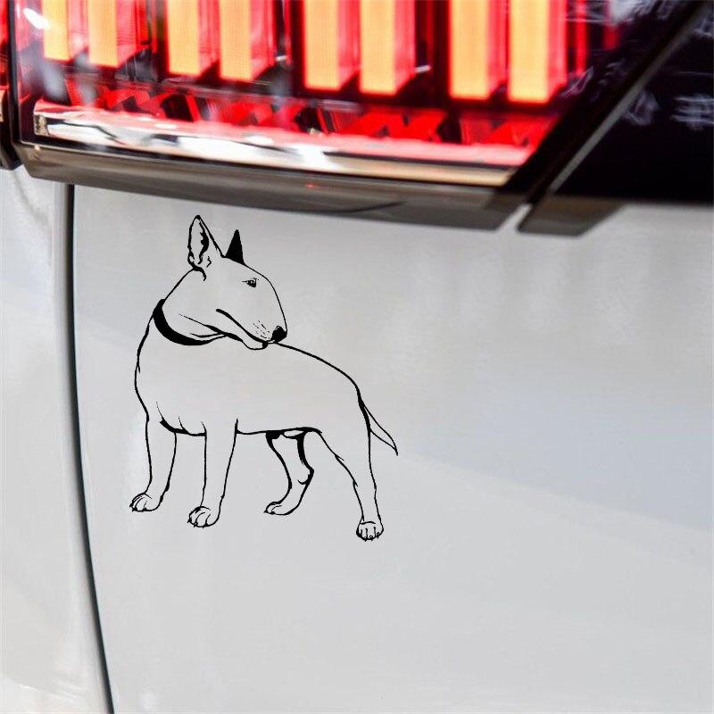 YJZT 17CM*19.2CM Decal Bullterrier Dog Pet Animal Feet Tail Guard Vinyl Car Stickers Black/Silver C10-00260