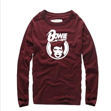 New fashion Funny printed Bowie StyleTees Men Fashion Man Clothing homme Round Neck Camisetas Boy long Sleeve cotton tshirt men