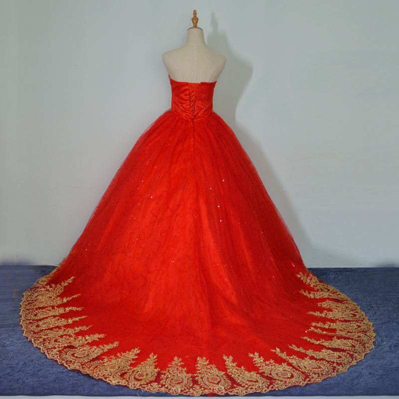 Image 5 - 2019 New Ball Gown Lace Tulle Red Wedding Dress with tail Chinese Pattern Style Cheap China Embroidery Bridal Gown-in Wedding Dresses from Weddings & Events