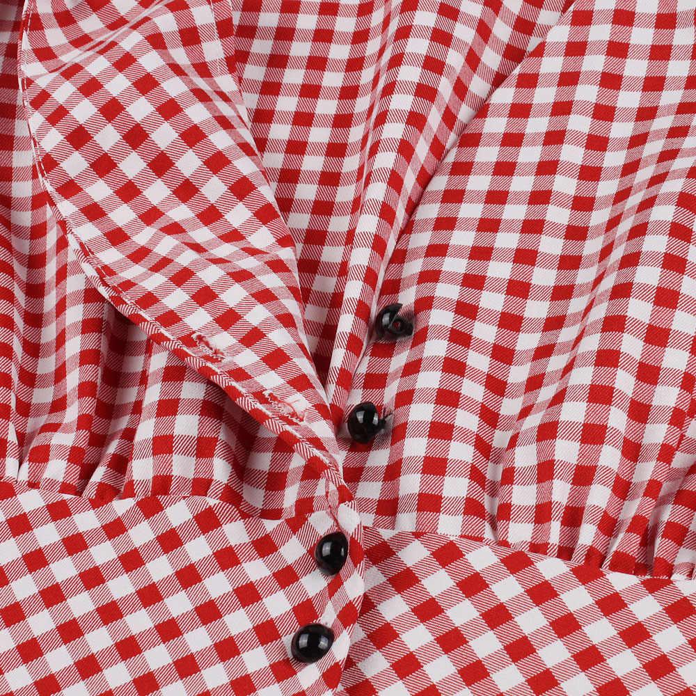 Kenancy женское вечернее платье в клетку с коротким рукавом, винтажное платье на пуговицах, летнее женское платье халат, плюс размер 4XL Vestidos, красное