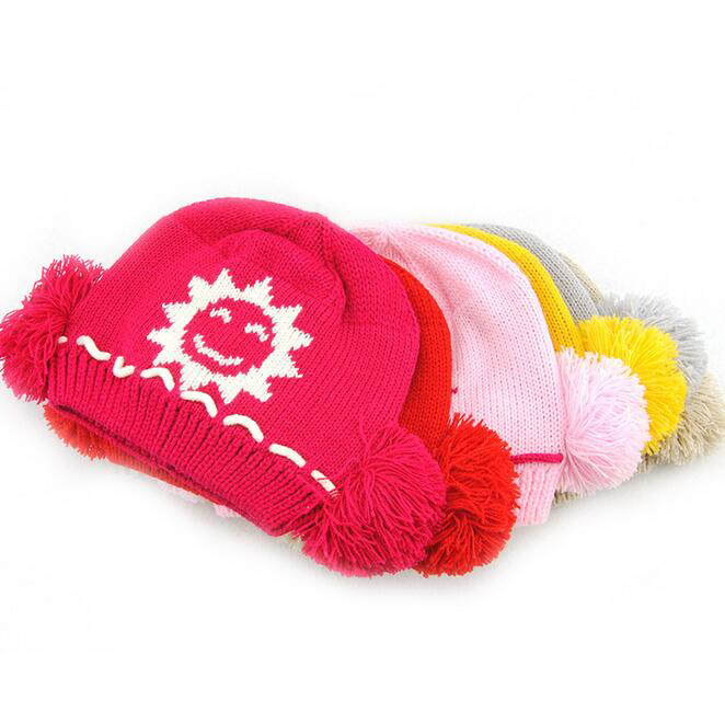 Wool Autumn Winter Beanies Solid Thick Kids Bonnet Knitted Skullies Boy Girl Warm Ski Hat Soft