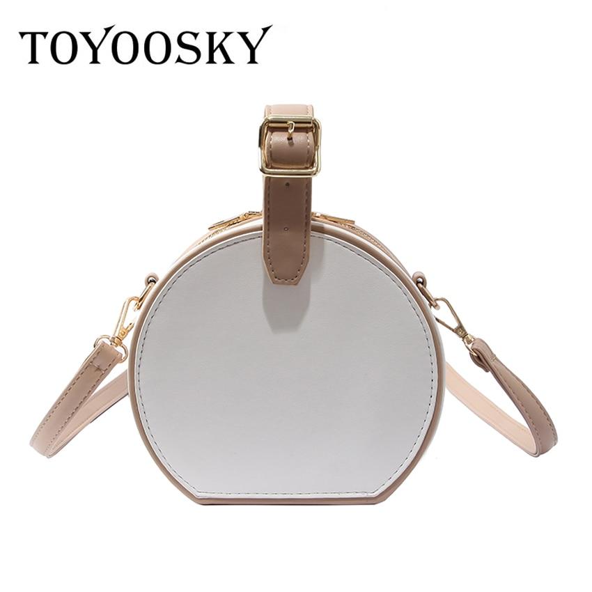 TOYOOSKY 2018 Women Bag Female Handbags Leather Shoulder Bag Crossbody Famous Brand circular Round Small Fashion panelled sac