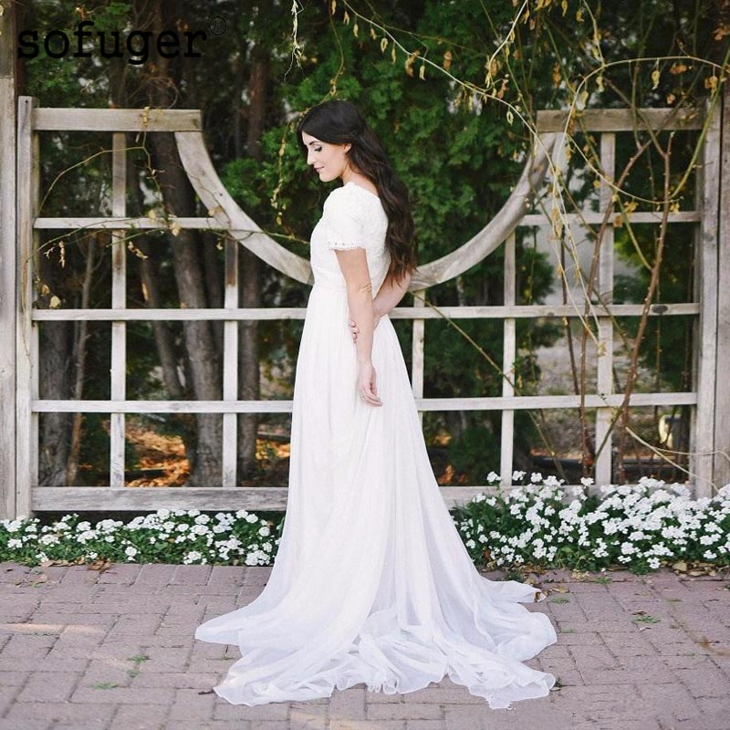 Modest Wedding Dresses 2019: 2019 Chiffon Modest Beach Wedding Dresses Short Sleeves