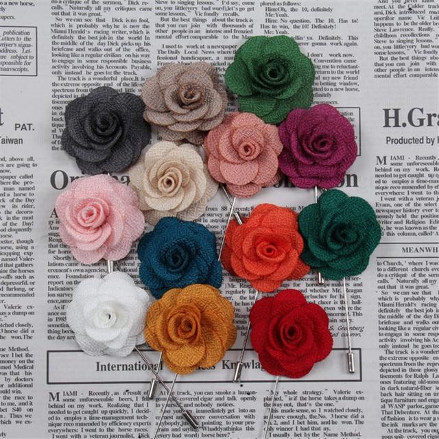 12pcs/lot Fabric Flower Brooches Men/Women Brooch Pins Suits Decoration Lapel Pi