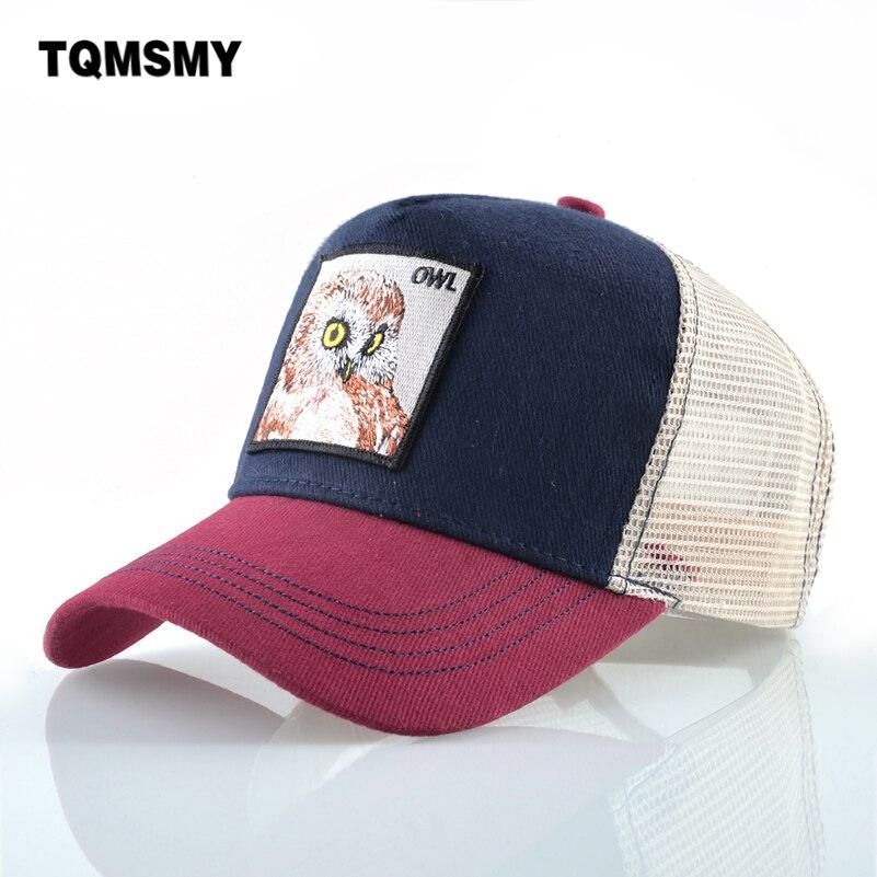 Animal pattern   Baseball     Cap   Women Cotton Snapback   caps   Embroidery owl Hip Hop   cap   men Breathable Mesh Bone Trucker Hat Casquet