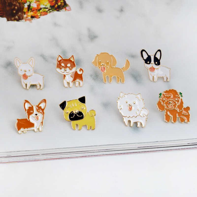 QIHE ювелирные изделия 8 шт./компл. Бостон-терьер Пудель Померанский корги бульдоги эмаль собака булавка животные булавка подарок идея