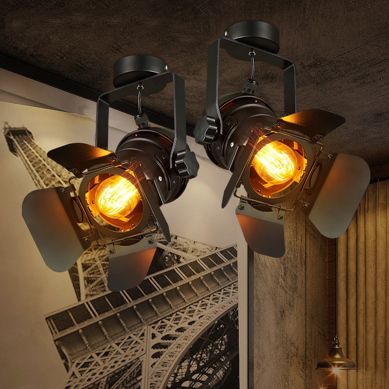 Retro Spot Track Pendant Lights LED Bar Clothing Shop Hotel Stair HangLamp Loft Stretch Industrial Vintage De Lighting Fixtures
