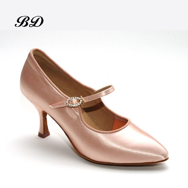 Baskets adultes chaussures de danse marque moderne carré BD137 parti salle de bal chaussures latines femmes Satin diamants base souple de peau de vache chaud