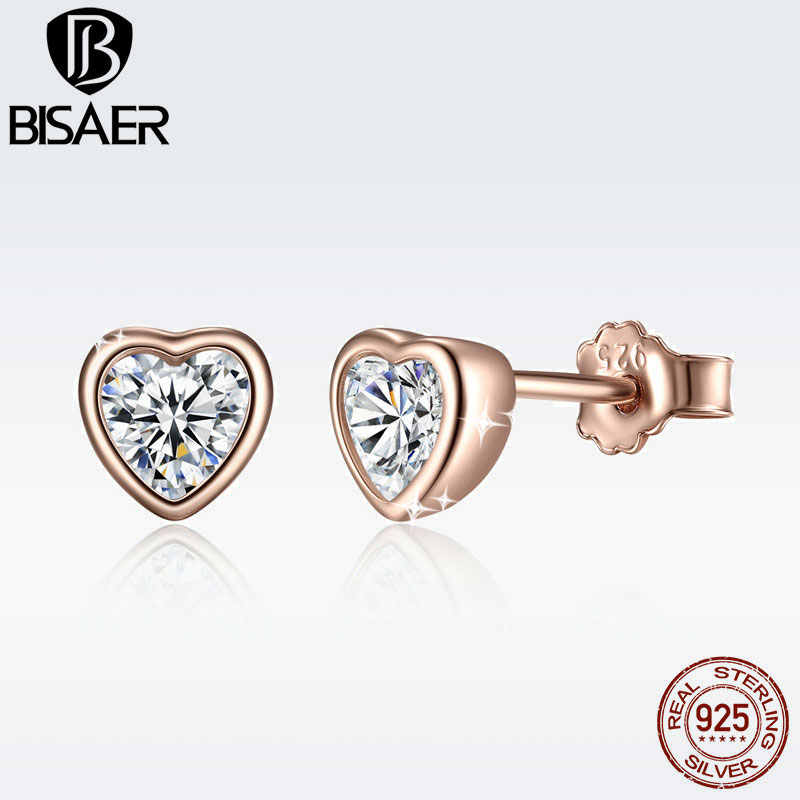 3 Colors 925 Sterling Silver Love Heart Stud Earrings Rose Gold Color Clear CZ Heart Stud Earring Female Brincos Fashion Jewelry