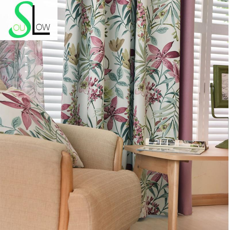 exciting living room curtains drapes | Europe Style Flower Printed Window Curtain Floral Blackout ...