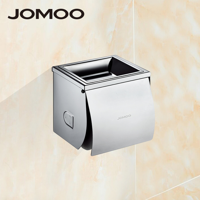 Jomoo Stainless Steel Bathroom Square Shape Toilet Paper Holder Wall Mounted Tissue Box With Ashtray