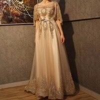 Fashion Long Evening Dresses 2016 Gold Lace Appliques Backless Sashes Formal Dress Evening Party Gowns Plus Size vestido longo