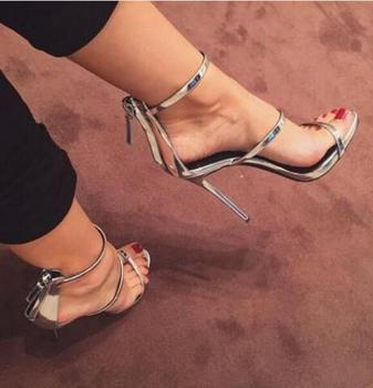 2017 New Gladiator Sandals Woman High Heels Simple Three Straps Cross Foot Sandals Shoes Woman Sandalias