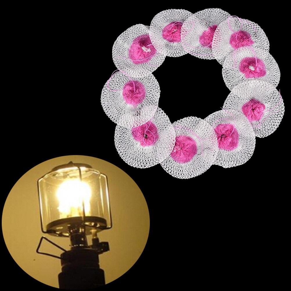 10 Pcs Kerosene Lantern Lights Mantles Mesh Gauze Oil Gas Lamp Mantle Cover Tool
