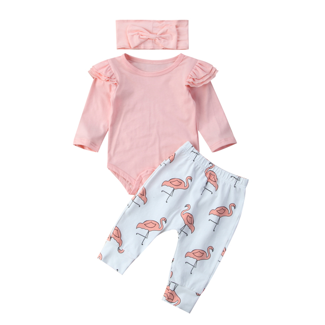 Lindo bebé niños mameluco manga voladora Tops + Pantalones largos flamencos diadema 3 piezas ropa conjunto lindos trajes