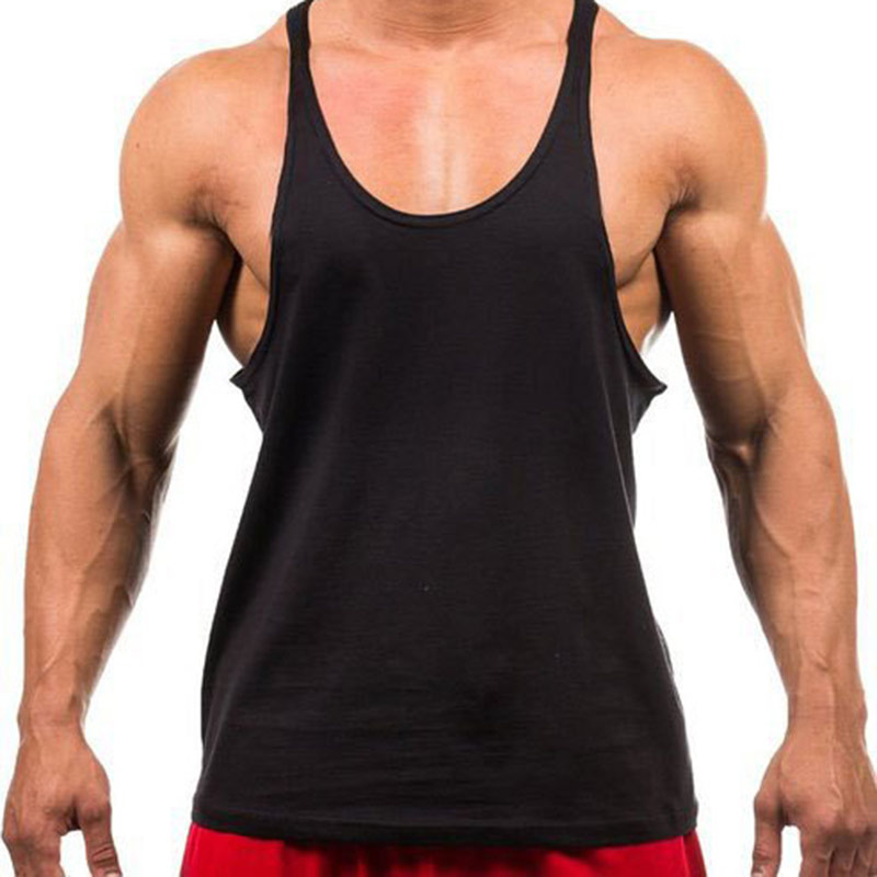 Men's Running Vest Tank Top T Shirts Men Sleeveless Shirt Gym Shirt Fitness Sport Wear Bodybuilding Race Back Cotton Clothing