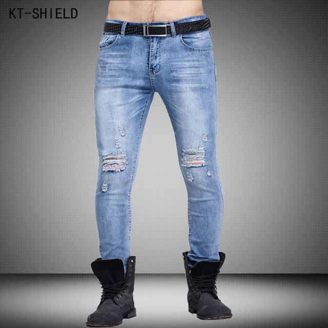 Pantalones vaqueros rasgados para los hombres de alta calidad pantalones pitillo de color azul claro pantalones vaqueros de los hombres Famoso Diseñador de la marca denim jeans motorista mens joggers pantalones