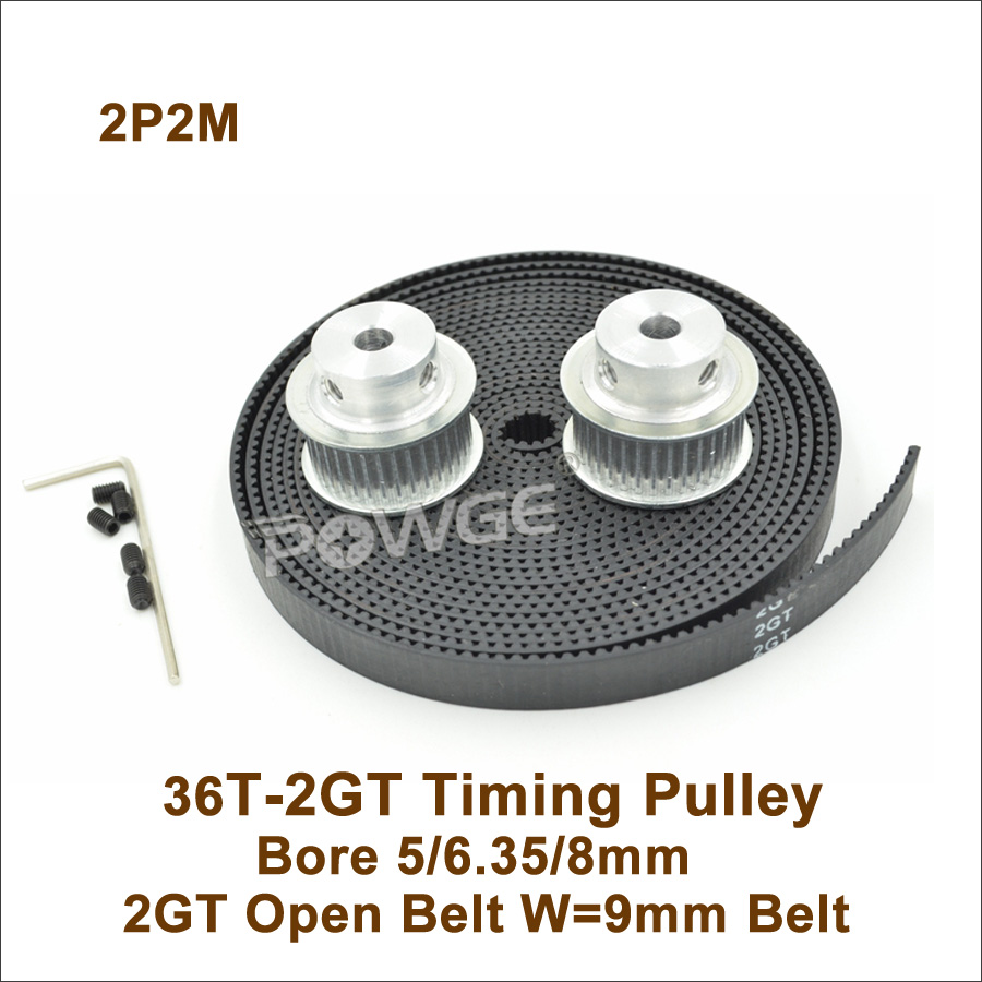 2pcs 36 Teeth 2GT Timing Pulley Bore 5/6.35/8mm + 2M <font><b>GT2</b></font> Timing Belt W=9mm <font><b>36T</b></font> 36Teeth <font><b>GT2</b></font> Timing Belt Pulley 3D Printer 36-2GT image