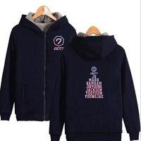 Winter Jacket Women Korean KPOP GOT7 Thick Warm Fleece Zipper Long Sleeve Hooded Sweatshirt Femael Casual Moleton Feminina