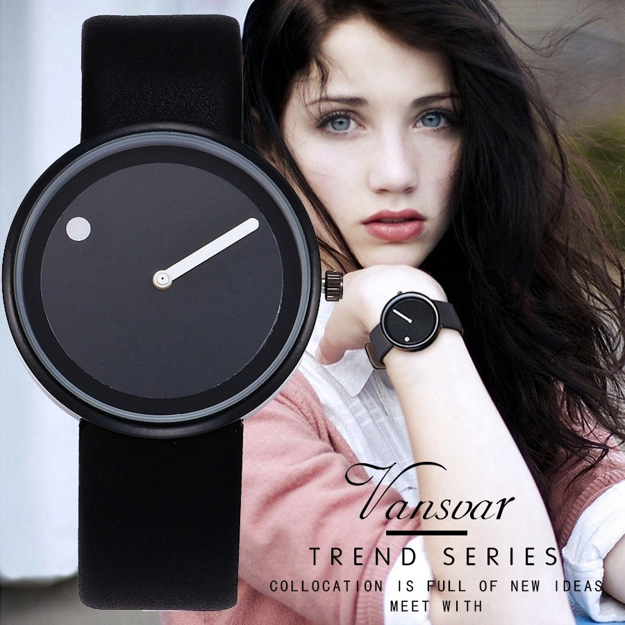 Vansvar Brand Minimalist Style Wristwatches Creative Design Dot and Line Simple Face Quartz Watches Gift Clock Relogio Feminino 2017lady gift enmex design silicone strap creative changing patterns dail japanese style simple quietly elegant quartz watches