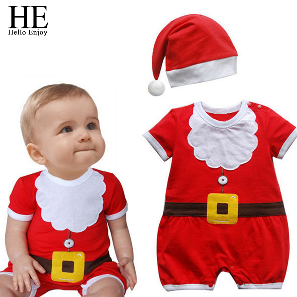 HE Hello Enjoy Christmas Baby Clothes Red Santa Claus Boys   Rompers   Jumpsuit+Hat Newborn Overalls Winter Clothing Toddler Sets