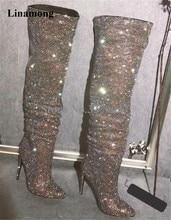 Новый дизайн, женские модные блестящие сапоги выше колена с острым носком, сапоги со стразами, высокие сапоги на высоком каблуке, роскошные сапоги на тонком каблуке