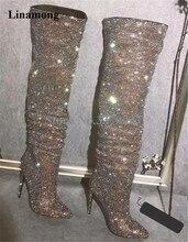 лучшая цена New Design Women Fashion Pointed Toe Bling Bling Over Knee Rhinestone Boots Crystal Long High Heel Boots Luxury Thin Heel Boots