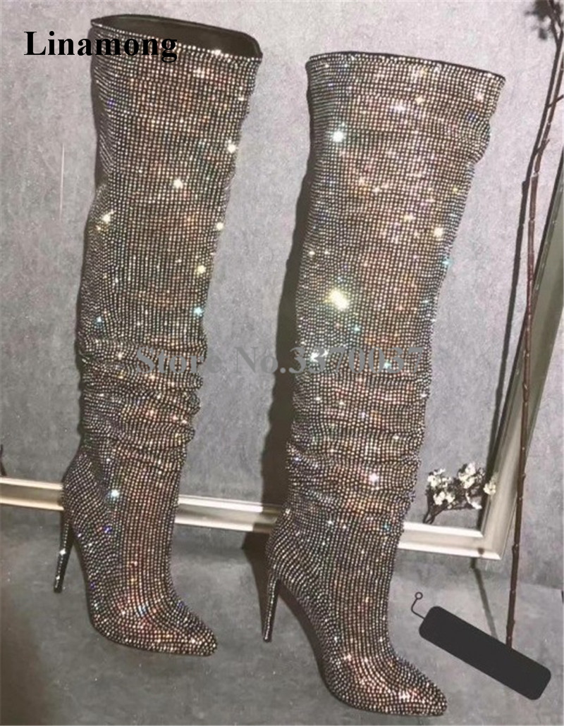 New Design Women Fashion Pointed Toe Bling Bling Over Knee Rhinestone Boots Crystal Long High Heel Boots Luxury Thin Heel Boots