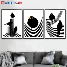 Black White Line Bird Wall Art Canvas Painting Nordic Posters And Prints Abstract Art Print Wall Pictures For Living Room Decor цена и фото