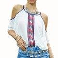 2017 Женщины Белый Шифон Блузки Женские Напечатаны С Плеча Чешские Футболки Топы Camisas Женские Плюс Размер Женщин Clothing Shirt
