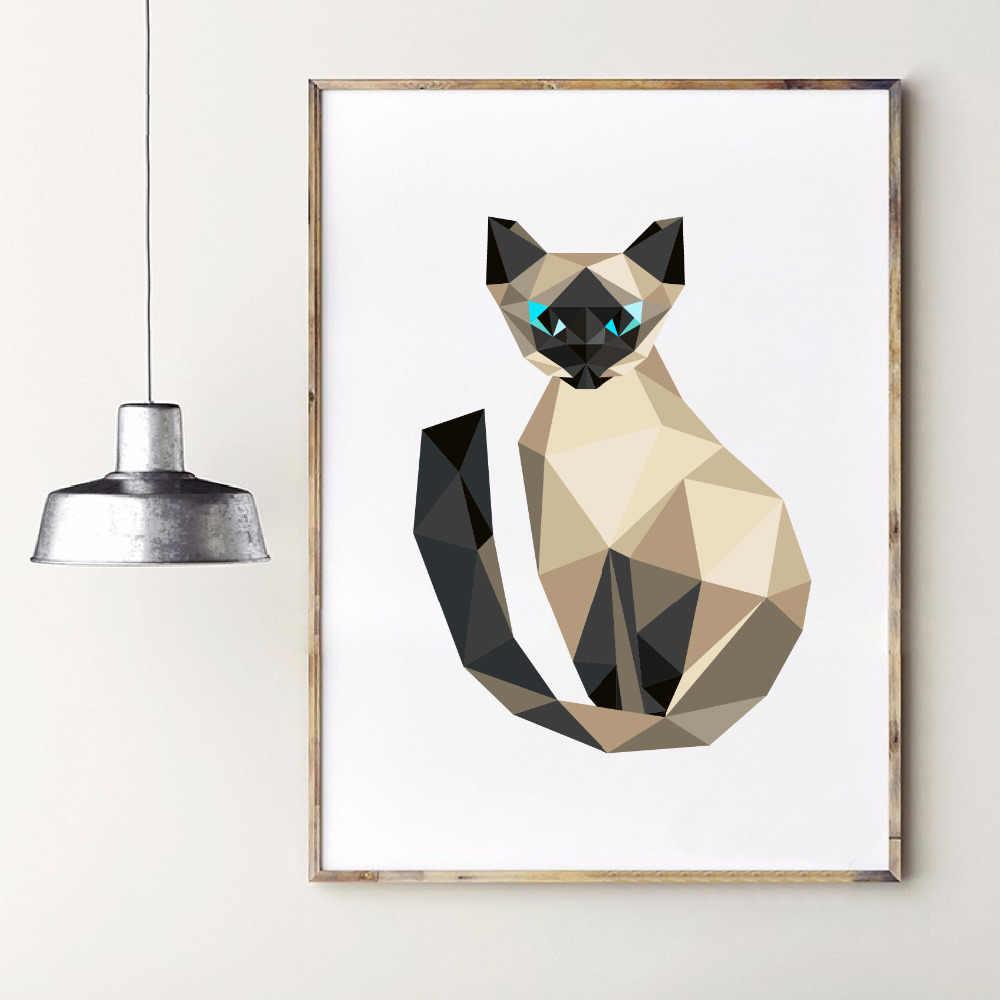 Triangle Polygonal Stile Siamese Kitten Art Print Wall Pictures , Abstract Polygon Animal Cat Canvas Painting Home Decoration