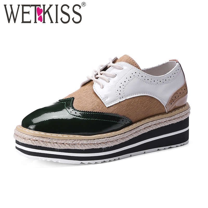 WETKISS Fashion Casual Flats Women Square Toe Wedges Patent Leather Footwear Spring Straw Weave Platform Sneaker Shoes Ladies beffery 2018 spring patent leather shoes women flats round toe casual shoes vintage british style flats platform shoes for women