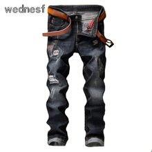 #1961 2017 Узкие джинсы мужчины Моды Патчи байкер джинсы Черные Рваные джинсы для мужчин Поддельные дизайнер одежды Тощий Jogger джинсы