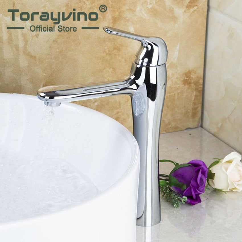 Torayvino Contemporary Luxury Delicate Basin Faucet Chrome Polished Single Handle Hot Cold Water Eminent Pretty Basin Faucet torayvino tap bathroom shower faucet with chrome polished cold
