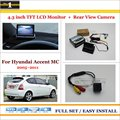 "Auto Rear View Camera Back Up + 4.3"" LCD Monitor = 2 in 1 Parking Assistance System - For Hyundai Accent MC 2005~2011"