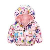 New Winter Kids Coats Girls Graffiti Hooded Baby Girl Warm Outerwear Cartoon Prints Children's Coats