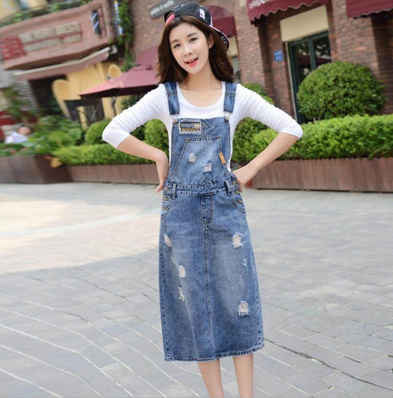 2018 Spring Summer Women Sleeveless strap Denim Sundress Casual holes With  Pockets Slim denim Dress s1876 111b017ced8c
