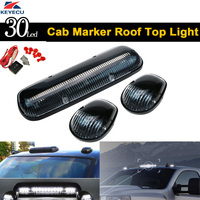 KEYECU 3 Pieces White 30 LED Cab Marker Roof Clearance Lights Assembly for 02 07 GMC Chevy