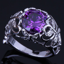 Majestic Round Purple Cubic Zirconia 925 Sterling Silver Ring For Women V0447