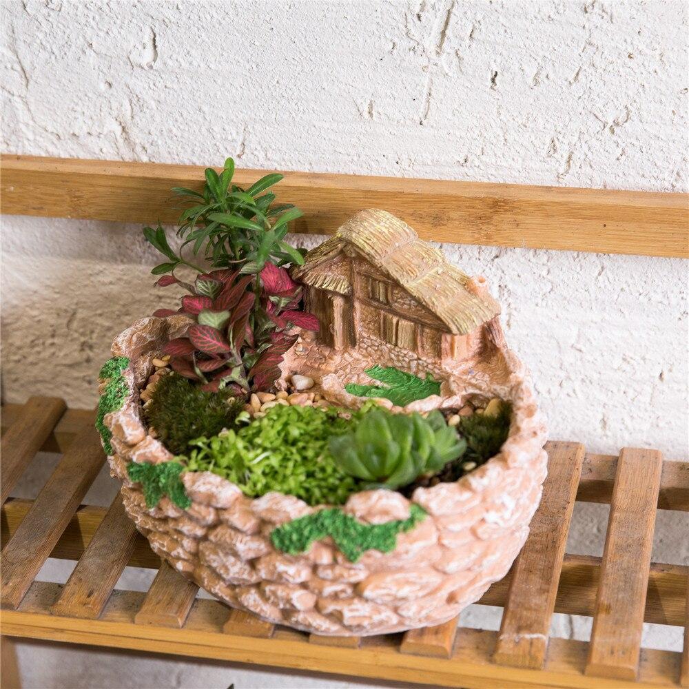 Miniature Décoratif Clôture Chalet Sculpture Succulentes Planteur ...