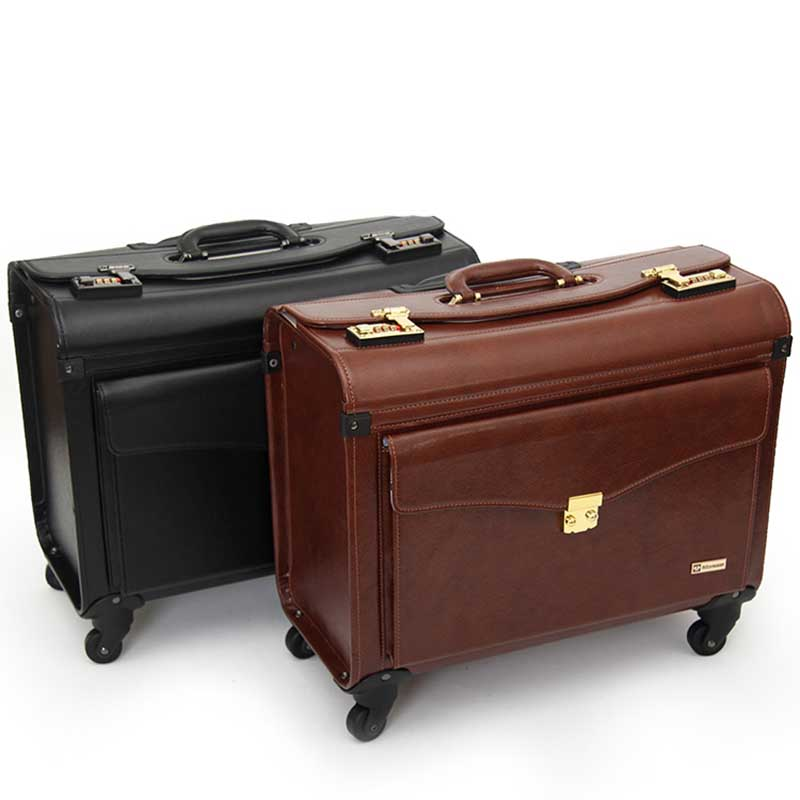 LeTrend 19 inch PU Leather Rolling Luggage Spinner Men Business Suitcase Wheels Carry on Trolley pilot