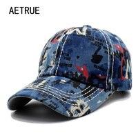 AETRUE Baseball Cap Snapback Caps Hats For Men Women Casquette Jean Bone Denim Gorras Female Male